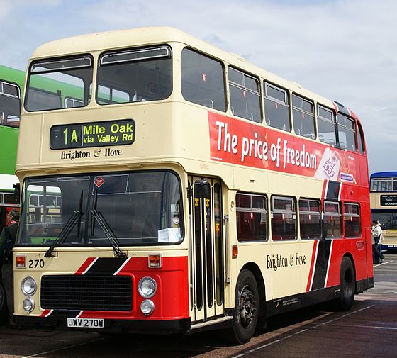 Brighton and Hove Bus advertising the Price of Freedom; click to visit the Traveline web site to plan your journey.
